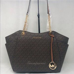 MICHAEL KORS JET SET LARGE CHAIN TOTE BAG BROWN